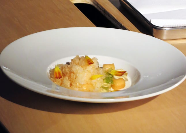 Pastry chef Demers' elderberry flower pannacotta with melon, lemon syrup, elberberry jelly, candied celery and a melon granita.