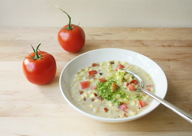 Summer Corn Chowder with Pancetta and Basil &amp; Lemon Pesto