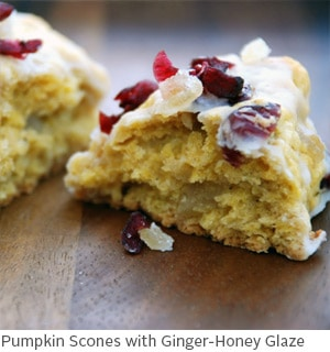 Pumpkin Scones with Ginger Honey Glaze by Amy McCoy // FoodNouveau.com