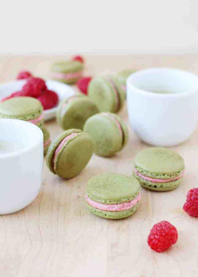Fresh Raspberry and Matcha Macarons // FoodNouveau.com