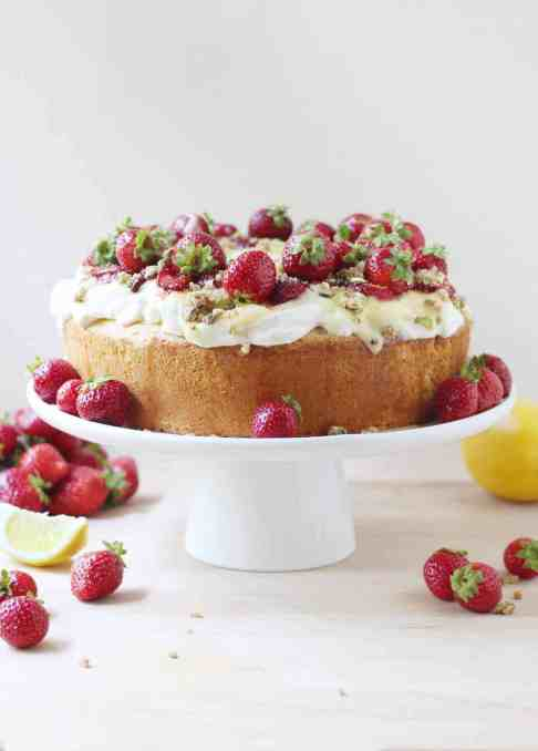 Homemade Angel Food Cake with Lemon Curd, Maple-Roasted Strawberries, and Pistachio Crumbs {with Video!}