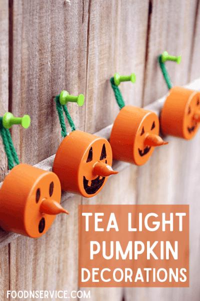 Easy DIY Halloween Pumpkin Tea Light Decorations