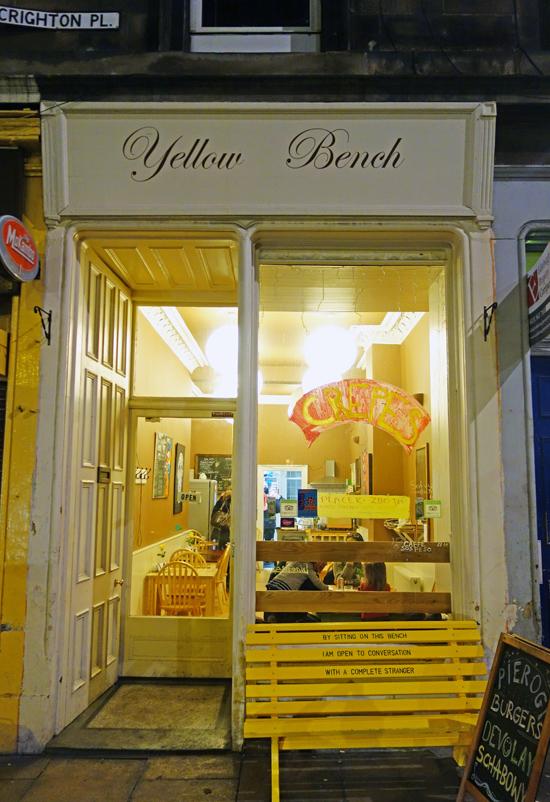 Edinburgh restaurant report yellow bench food perestroika