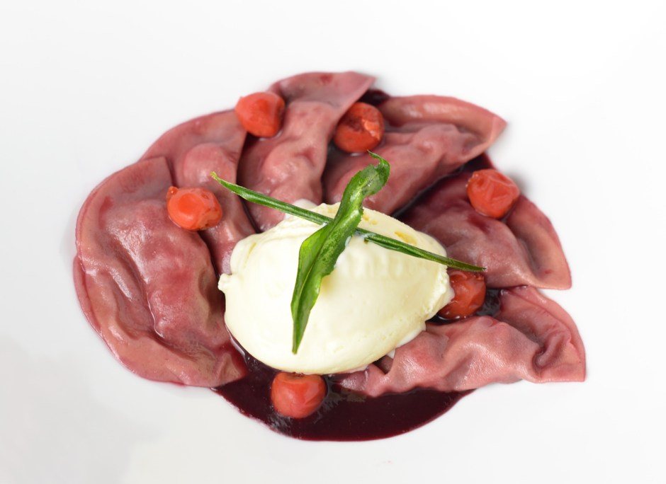 Cherry Varenyky and Goat Cheese Ice Cream