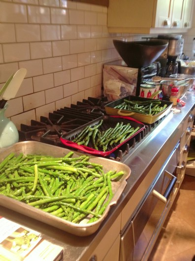 Getting asparagus ready for salad