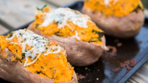 Twice Baked Italian Sausage, Corn, Feta & Kale Sweet Potatoes