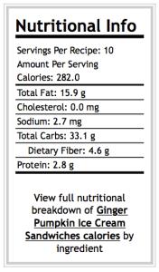 Ginger Pumpkin Ice Cream Sandwich Basic Nutrition Breakdown