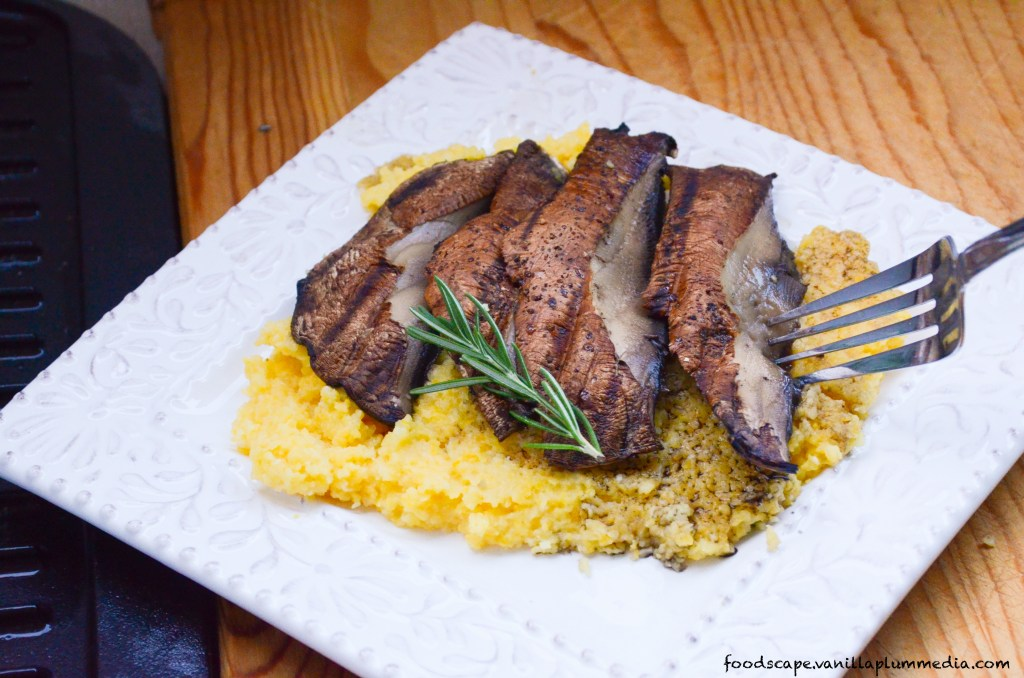 Portobello Mushroom Steaks with Cheesy Rosemary Polenta