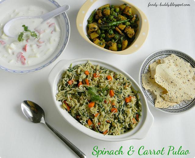 Spinach Carrot Pulao | Palak Pulav