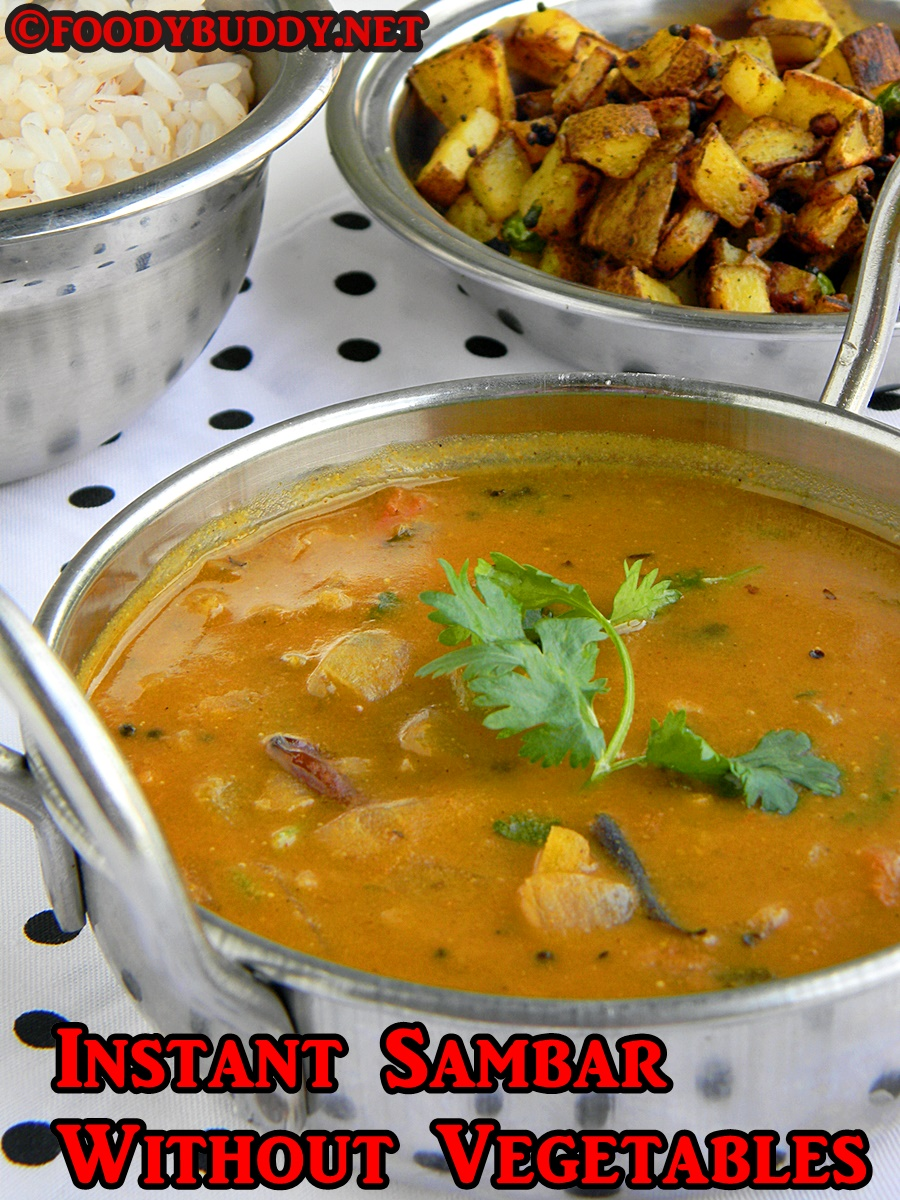 Pottukadalai Sambar Recipe / Sambar without Dal & Veggies