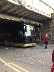 Henrik Ojamaa's picture of the Motherwell team bus stuck under a bridge