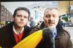 A man hit with his own inflatable banana after interrupting a reporter's live broadcast on deadline day