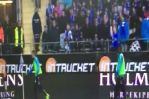 Tobias Sana throws a corner flag at fans during IFK v Malmö, leading to the match being abandoned