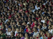 SO KON PO, HONG KONG - JULY 29:  Chinese fans watch the action during the international friendly match between Kitchee FC and Manchester United at Hong Kong Stadium on July 29, 2013 in So Kon Po, Hong Kong.  (Photo by Victor Fraile/Getty Images)