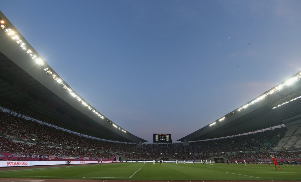 OSAKA, JAPAN - JULY 26:  A wide shot of Hagai Stadium during the pre-season friendly match between Cerezo Osaka and Manchester United as part of their pre-season tour of Bangkok, Australia, Japan and Hong Kong at Nagai Stadium on July 26, 2013 in Osaka, Japan.  (Photo by John Peters/Man Utd via Getty Images)