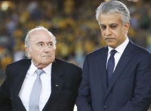 SYDNEY, AUSTRALIA - JANUARY 31 : AFC president Sheikh Salman Bin Ibrahim Al-Khalifa (R) and FIFA president Sepp Blatter (L) are seen during the trophy presentation after the 2015 Asia Cup Final between Australia Vs South Korea in the 2015 AFC Asian Cup match played at the Stadium Australia on January 31, 2015 in Sydney. (Photo by Asanka Brendon Ratnayake/Anadolu Agency/Getty Images)