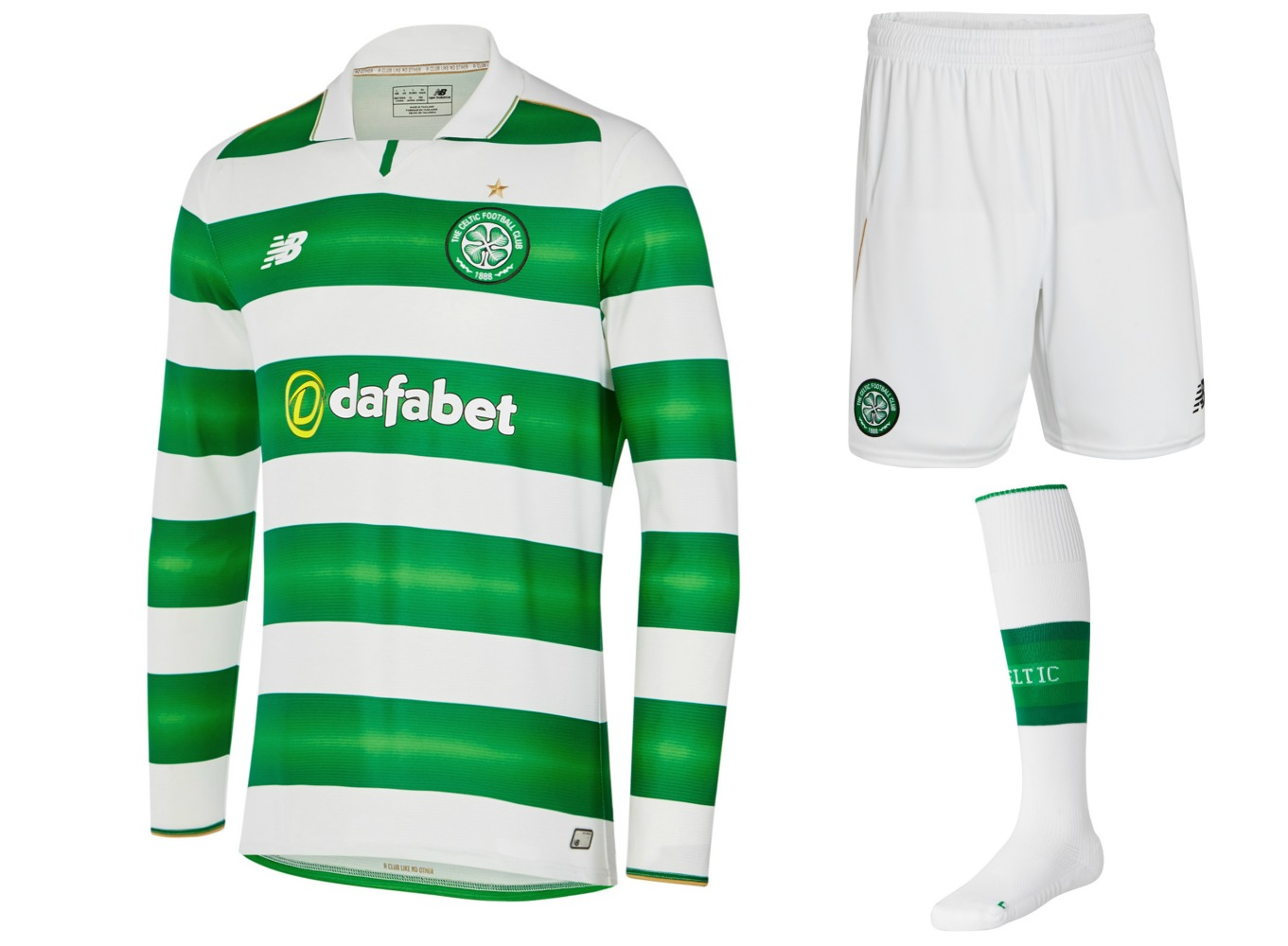 Celtic Fc   New Balance Green And White Hooped Football Kit