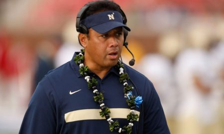 Navy Head Coach Ken Niumatalolo during the NCAA football game between the Southern Methodist University Mustangs and the Navy Midshipmen on Saturday, November 12, 2011. Navy beat SMU 24-17. (Patrick T. Fallon/The Dallas Morning News)