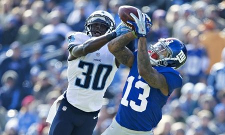 NASHVILLE, TN - DECEMBER 7:  Odell Beckham Jr. #13 of the New York Giants catches a pass in the first half while being defended by Jason McCourty #30 of the Tennessee Titans at LP Field on December 7, 2014 in Nashville, Tennessee.  (Photo by Wesley Hitt/Getty Images)
