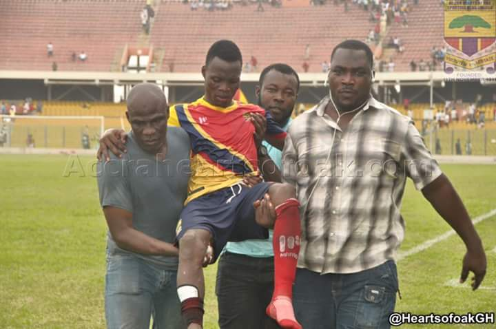 Samudeen gets carried off field after injury vs Edubiase