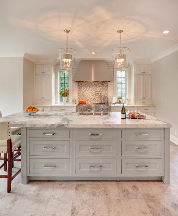 Marble Design For Kitchen: Elegant White Kitchen Interior Designs