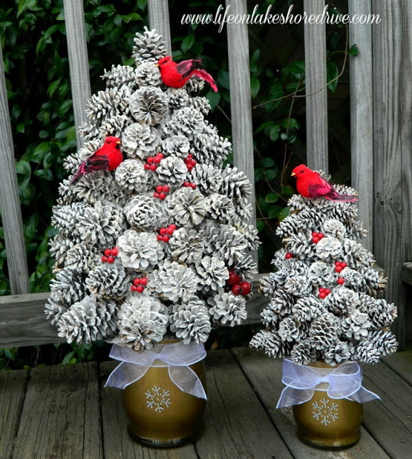 Create a pinecone tree on a cone-shaped foam base. Anchor the base in a container, then wire the cones onto 2