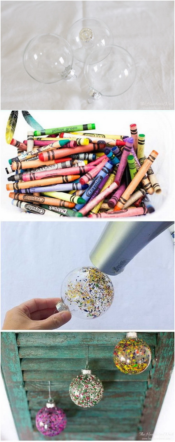 Melted Crayon Art DIY Christmas Ornaments. An easy craft to do with the kids over the holiday season and make great Christmas decorations for your tree.
