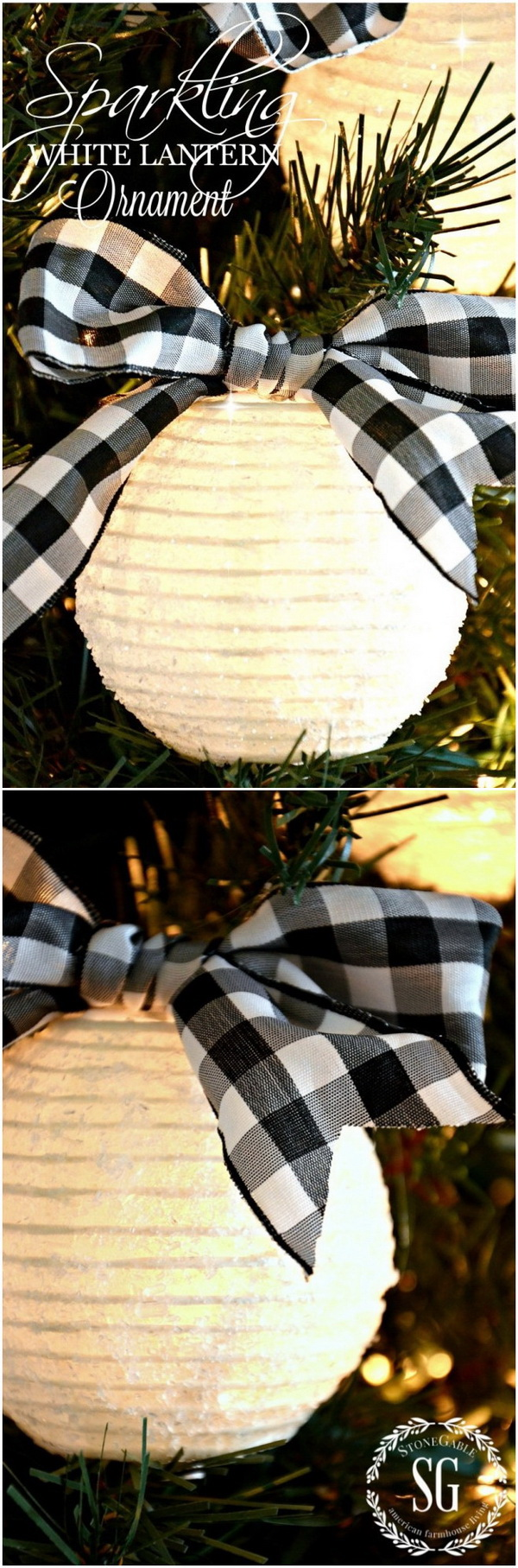 Sparkling White Lantern Christmas Ornaments. This sparkling white lantern ornament adds glows from the inside and sparkles to your holiday decor.