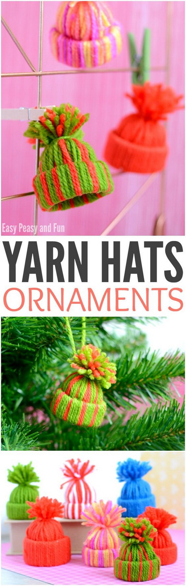 Mini Yarn Hats Ornaments. These little winter hats make easy and cute Christmas ornaments!