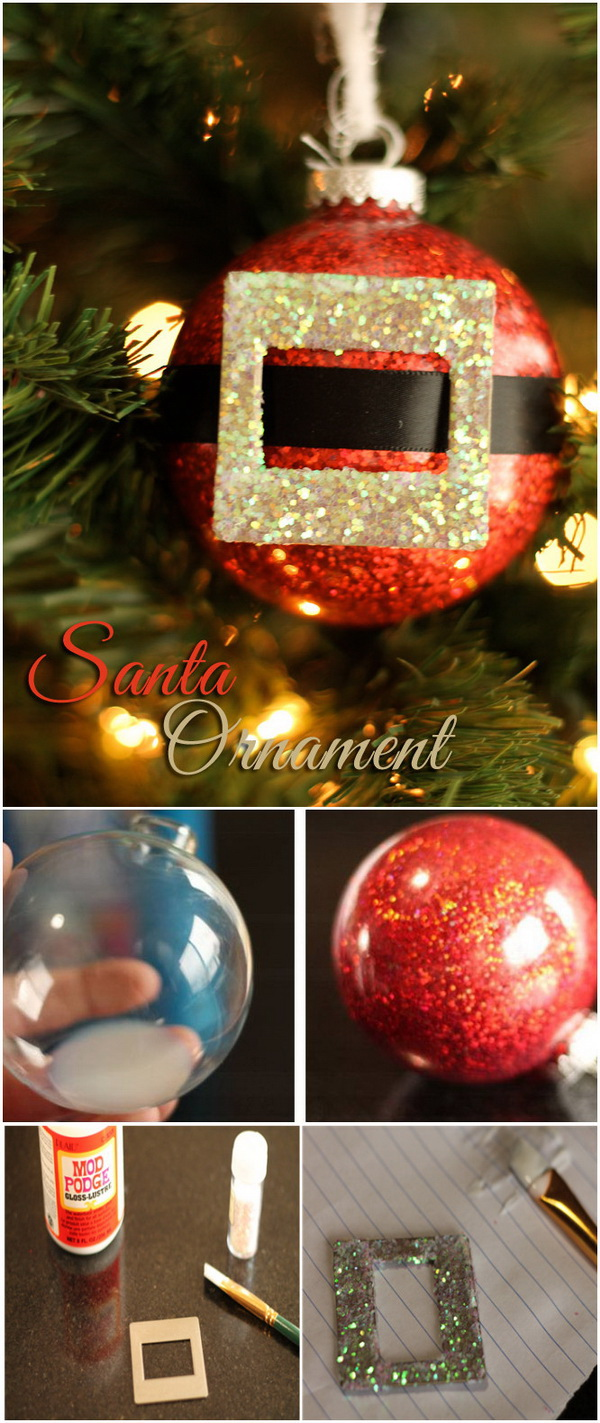 Glitter Santa Claus Christmas Ornament Craft. Adorable handmade Santa ornament craft that you can make in just 5 mintus to brighten your home for the holiday!