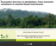 Ecosystem Services in plantations: from economic valuations to market-based instruments