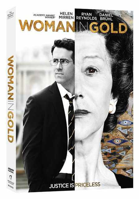 Woman In Gold Movie on DVD with pictures of Helen Mirren and Ryan Reynolds