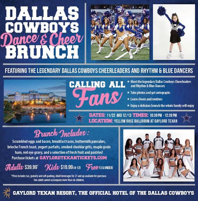 Ad showing Dallas Cowboy Cheerleaders in action and posing and also showing a little girl cheerleader.