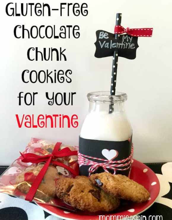 Gluten-free cookies in plate with bottle of milk and black white polka dot straw dressed up in red for Valentine's Day