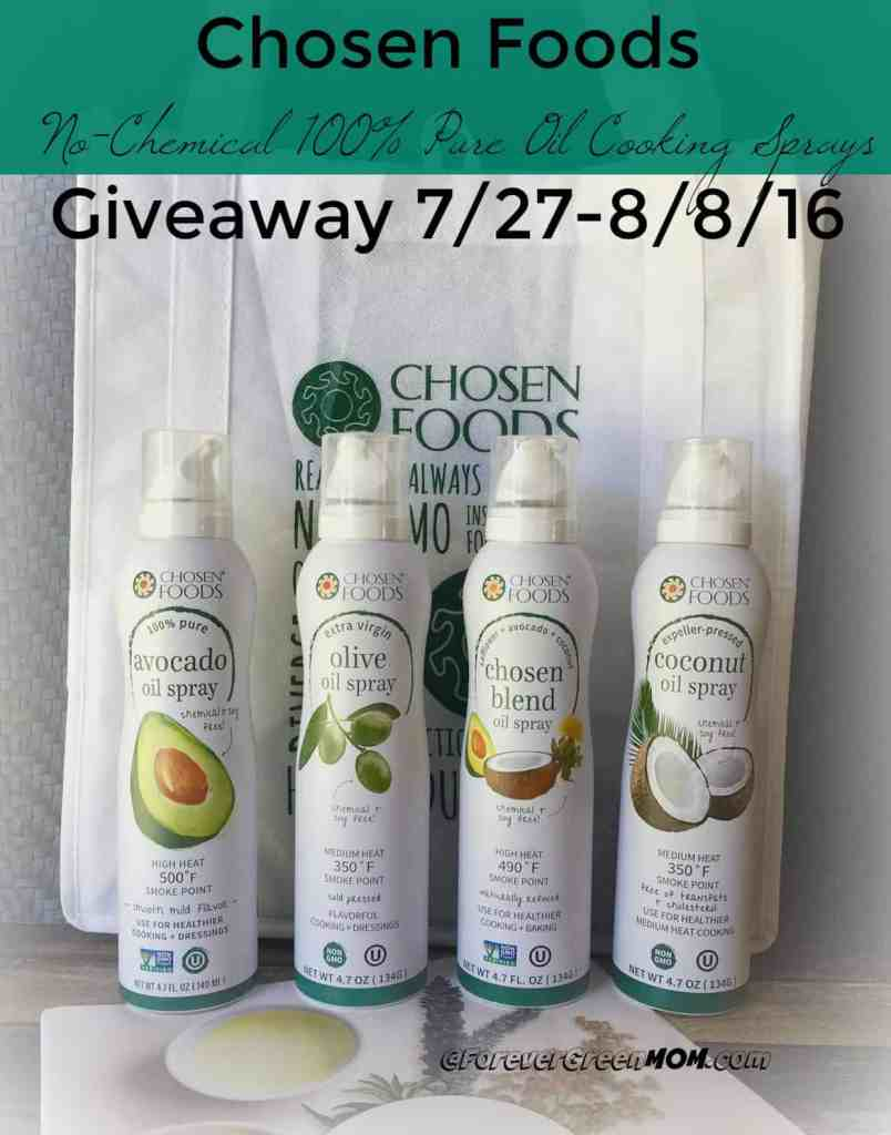 4 Chosen Foods Healthy cooking sprays with 100% pure oil only ingredient