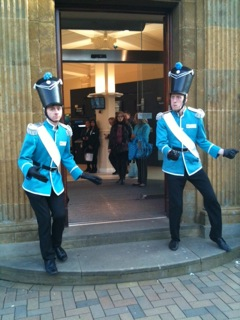 Barclays with guards in a mystery location, taken by Gerry from Fairport Convention