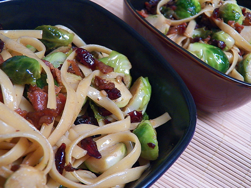 Fettuccine with Dried Cranberries and Caramelized Brussels Sprouts ...