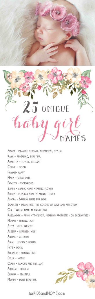 25 Unique Baby Girl Names And Meanings