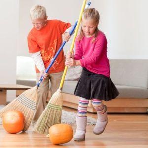 Halloween Games for Kids Pumpkin Broom Roll