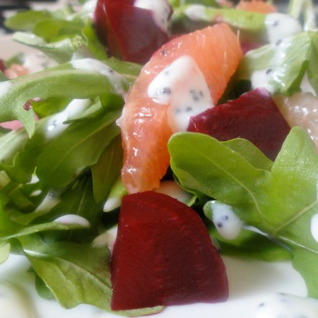 Beet, Grapefruit, Avocado, Pickled Onion Salad with Poppy Seed Dressing