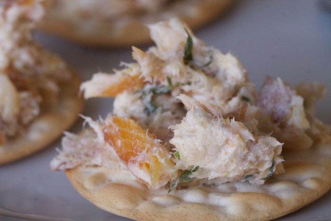 Smoked Trout Rillette on Crackers