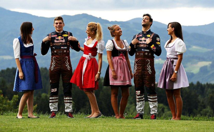 Red Bull förarnas nya lederhosen overall