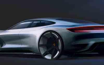 Porsche Mission E rendering by Emiel Burki