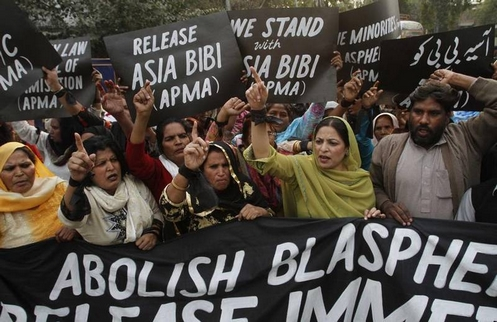 manifestacion a favor de asia bibi