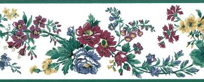 Old-Fashioned Vintage Floral Wallpaper Border Red Blue GP19445