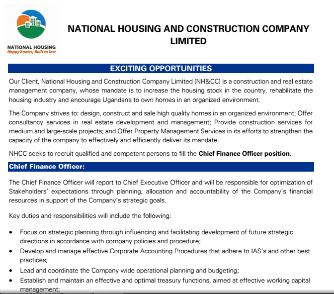 CPA. John Muhaise-Bikalemesa, The National Housing & Construction Co. Ltd (NHCC) seeks to recruit qualified and competent persons to fill the Chief Finance Officer position.