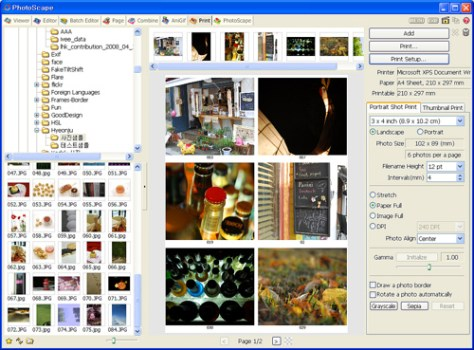 Programa para editar fotos Photoscape. Imprimir