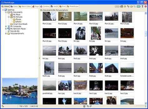 Programa para editar fotos Photoscape. Visor