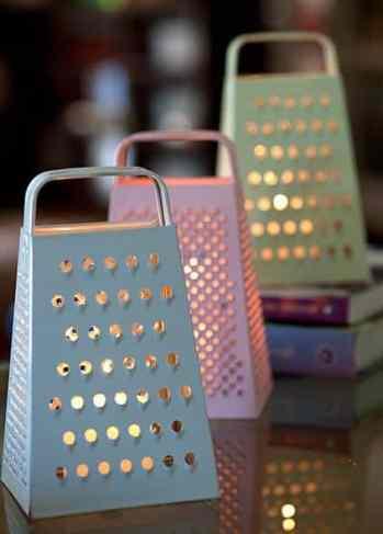 decoração ralador com iluminação chá de panela