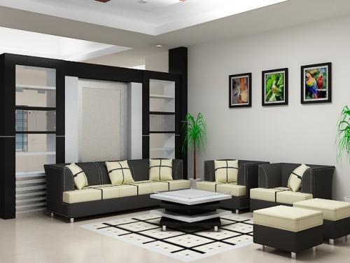ruang tamu warna putih